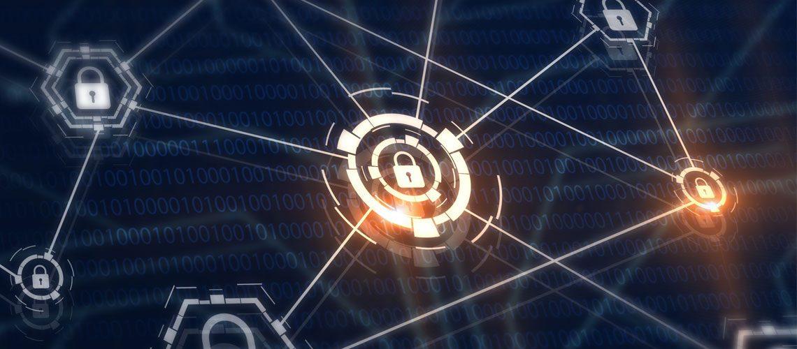Padlocks and locks on virtual digital screen.